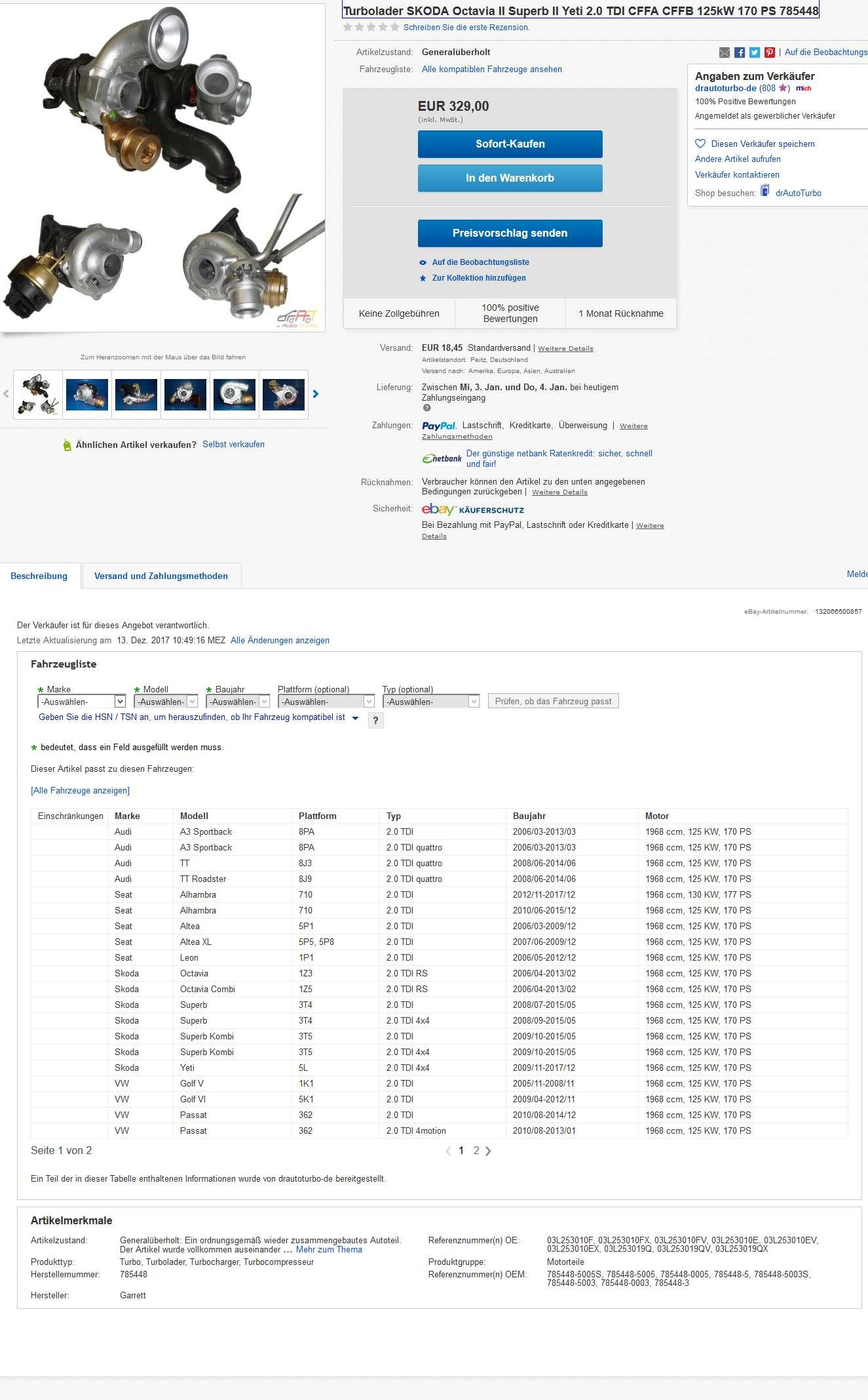 624 785448 turbolader skoda octavia ii superb ii yeti 2 0. Black Bedroom Furniture Sets. Home Design Ideas